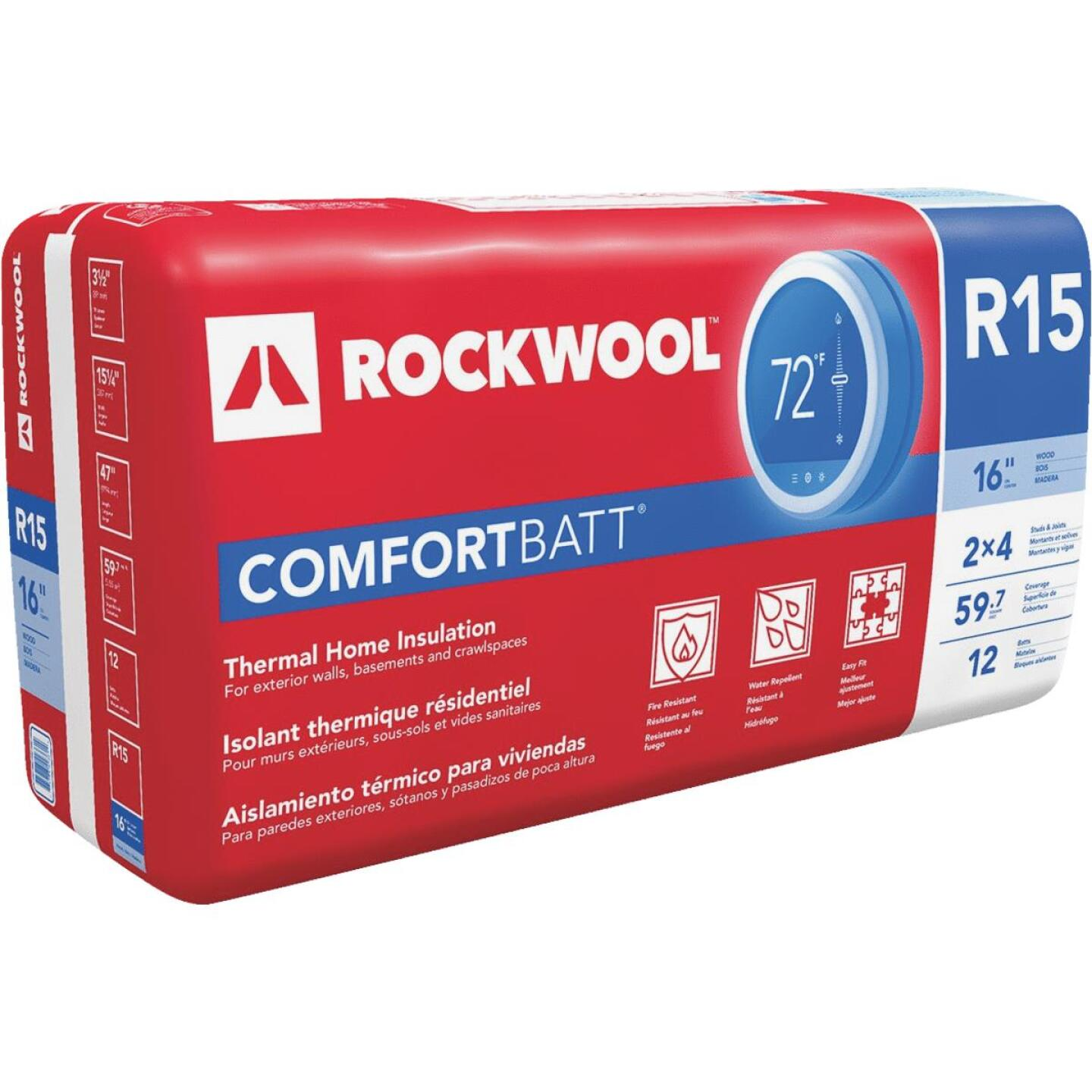 Rockwool Comfortbatt R-15 16 In. x 47 In. Stone Wool Insulation (12-Pack) Image 1