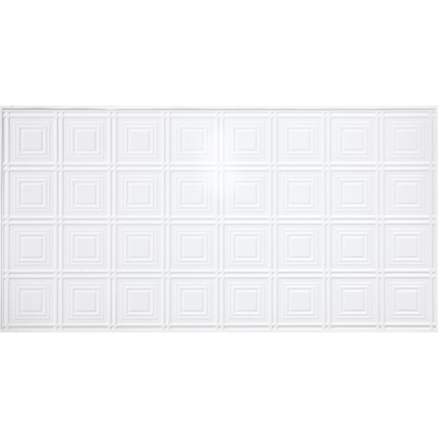Dimensions 2 Ft. x 4 Ft. White 6 In. Square Pattern Tin Look Nonsuspended Ceiling Tile & Backsplash Image 2