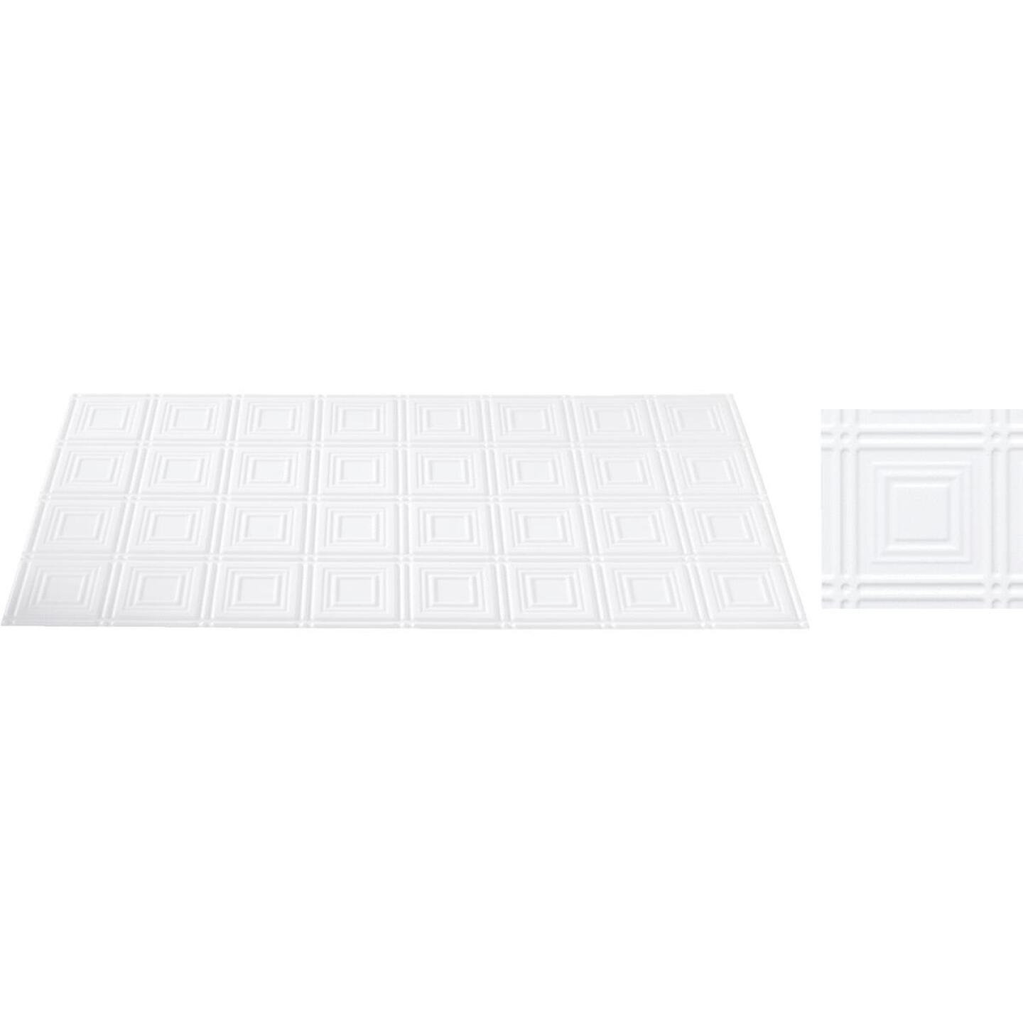 Dimensions 2 Ft. x 4 Ft. White 6 In. Square Pattern Tin Look Nonsuspended Ceiling Tile & Backsplash Image 1