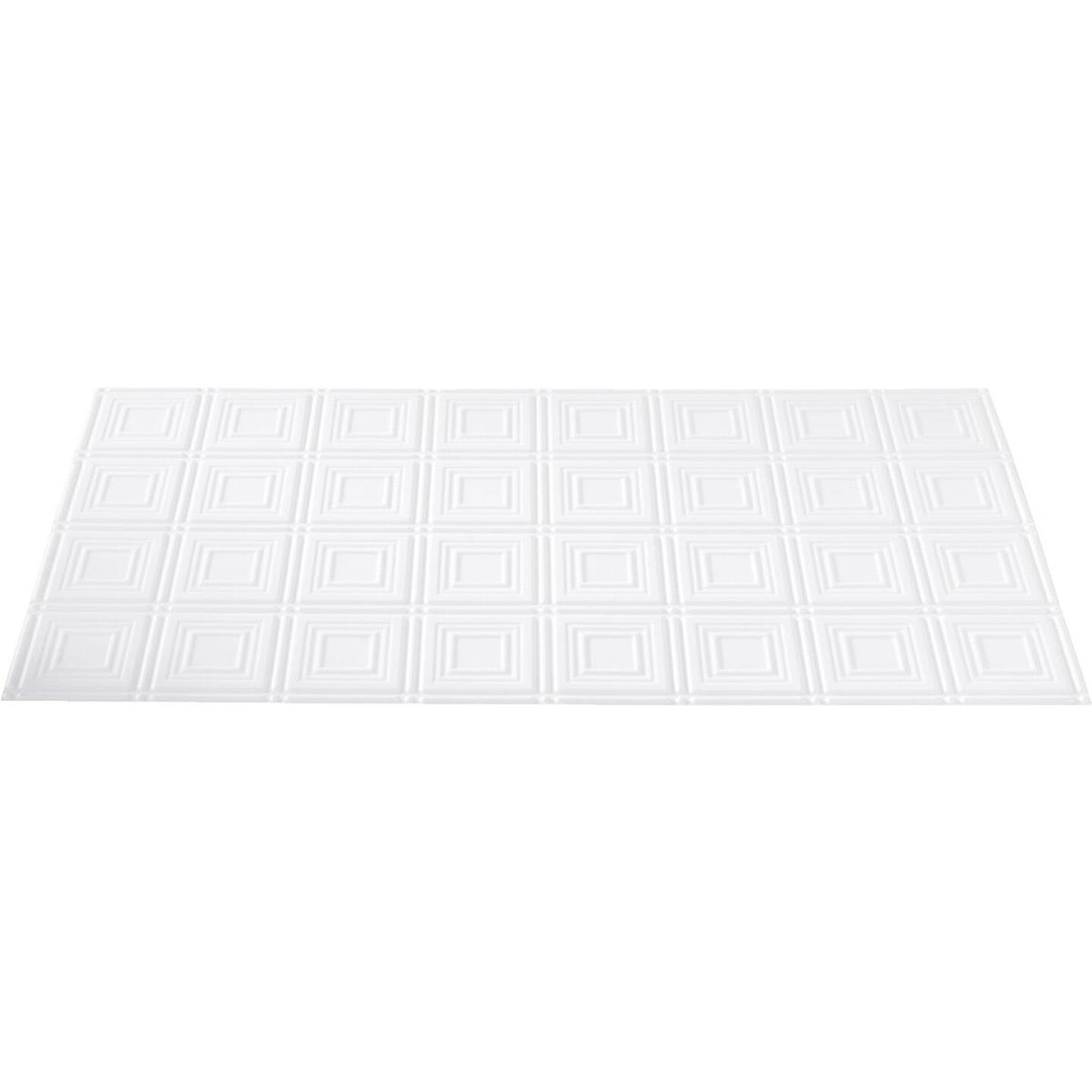 Dimensions 2 Ft. x 4 Ft. White 6 In. Square Pattern Tin Look Nonsuspended Ceiling Tile & Backsplash Image 4