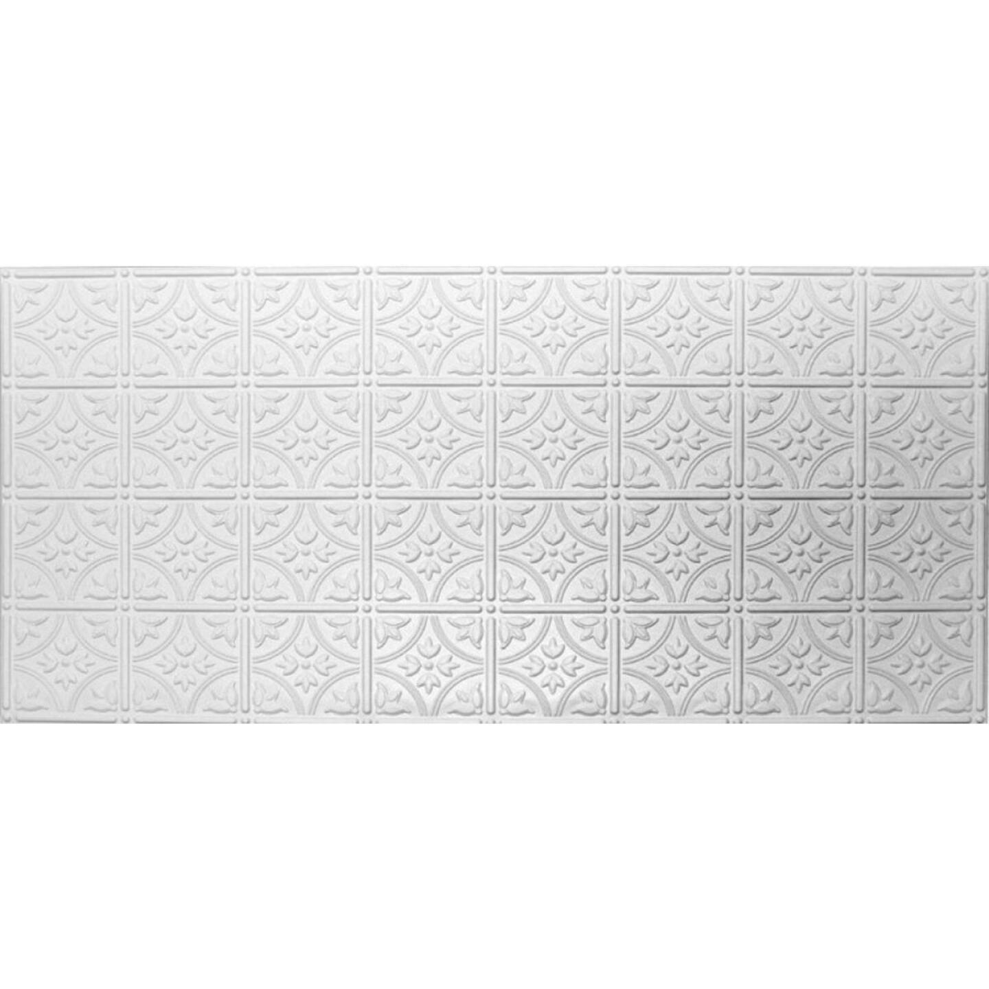 Dimensions 2 Ft. x 4 Ft. White 6 In. Circle/Square Pattern Tin Look Nonsuspended Ceiling Tile & Backsplash Image 2