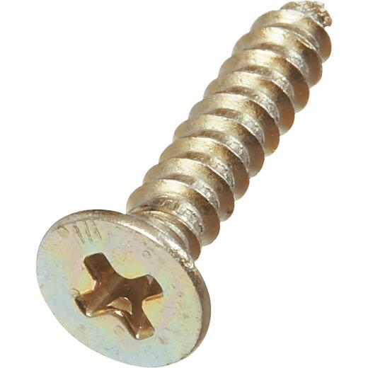 National #9 x 1 In. Phillips Flat Head Brass Wood Screw (18 Ct.)