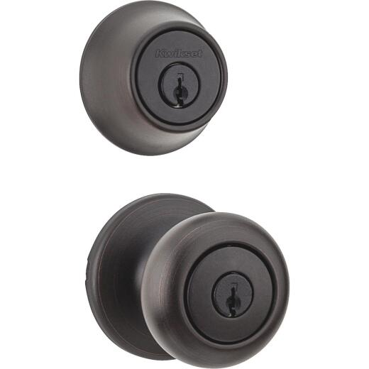 Kwikset Cove Venetian Bronze Deadbolt and Door Knob Combo