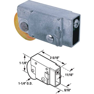Prime-Line 1-1/4 In. Dia. x 9/16 In. W. x 2-5/16 In. L. Steel Patio Door Roller with Adjustable Diecast Housing Assembly