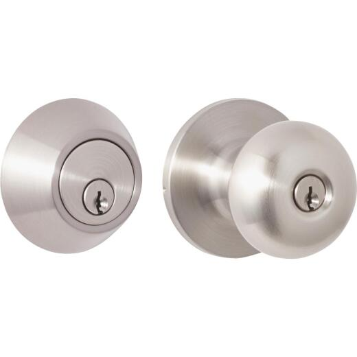 Steel Pro Brushed Nickel Deadbolt and Door Knob Combo