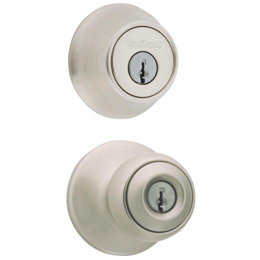 Kwikset Polo Satin Nickel Deadbolt and Door Knob Combo
