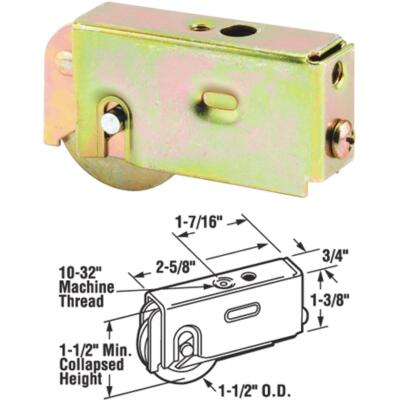 Prime-Line 1-1/2 In. Dia. x 3/4 In. W. x 2-5/8 In. L. Steel Patio Door Roller with Adjustable Housing Assembly