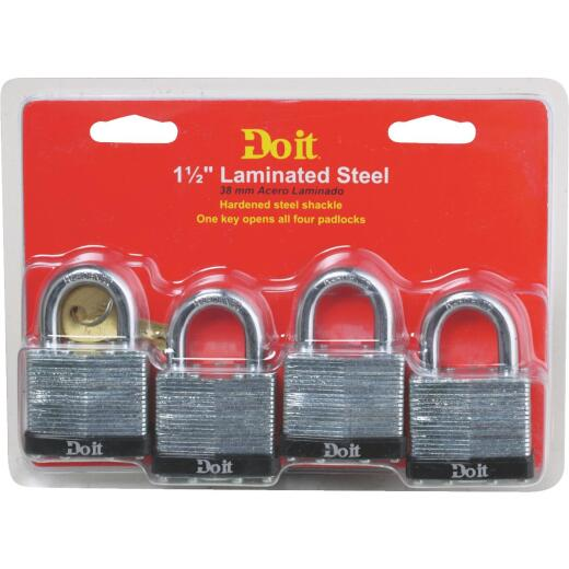 Do it 1-1/2 In. W. Laminated Steel Padlock (4 Pack)