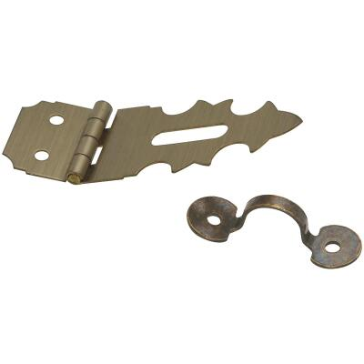 National 5/8 In. x 1-7/8 In. Antique Brass 2-Hole Decorative Hasp