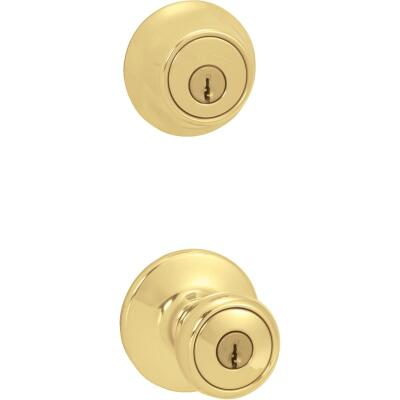 Kwikset Polished Brass Deadbolt and Door Knob Combo