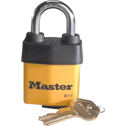 Master Lock 2-1/8 In. W. FlexFit Keyway Cover Laminated Steel Different Keyed Padlock