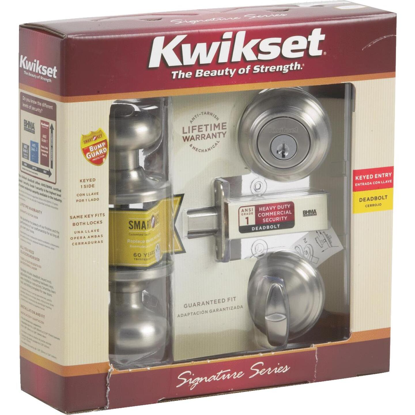Kwikset Signature Series Satin Nickel Deadbolt and Door Knob Combo Image 5
