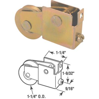 Slide-Co 1-1/4 In. Dia. x 9/16 In. W. x 1-9/32 In. L. Steel Ball Bearing Patio Door Roller with Adjustable Housing Assembly