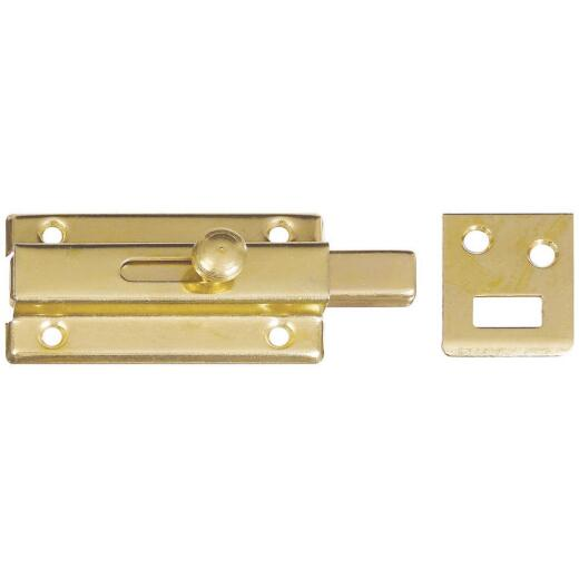National 3 In. Brass Door Slide Bolt