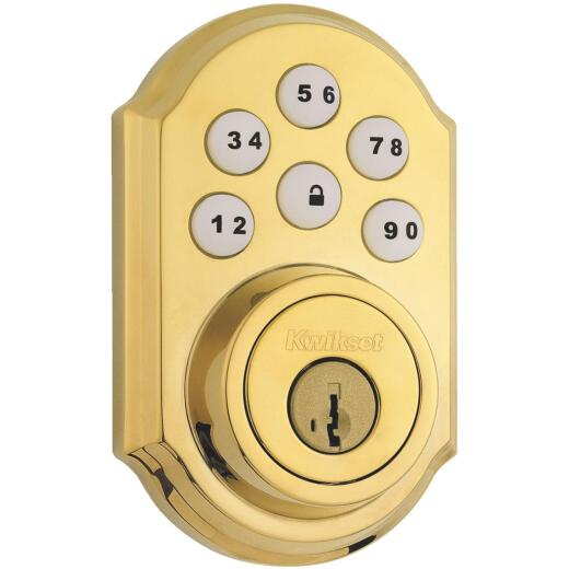 Kwikset Signature Series SmartCode Polished Brass Electronic Deadbolt
