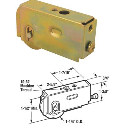 Prime-Line 1-1/4 In. Dia. x 3/4 In. W. x 2-5/8 In. L. Steel Patio Door Roller with Adjustable Housing Assembly