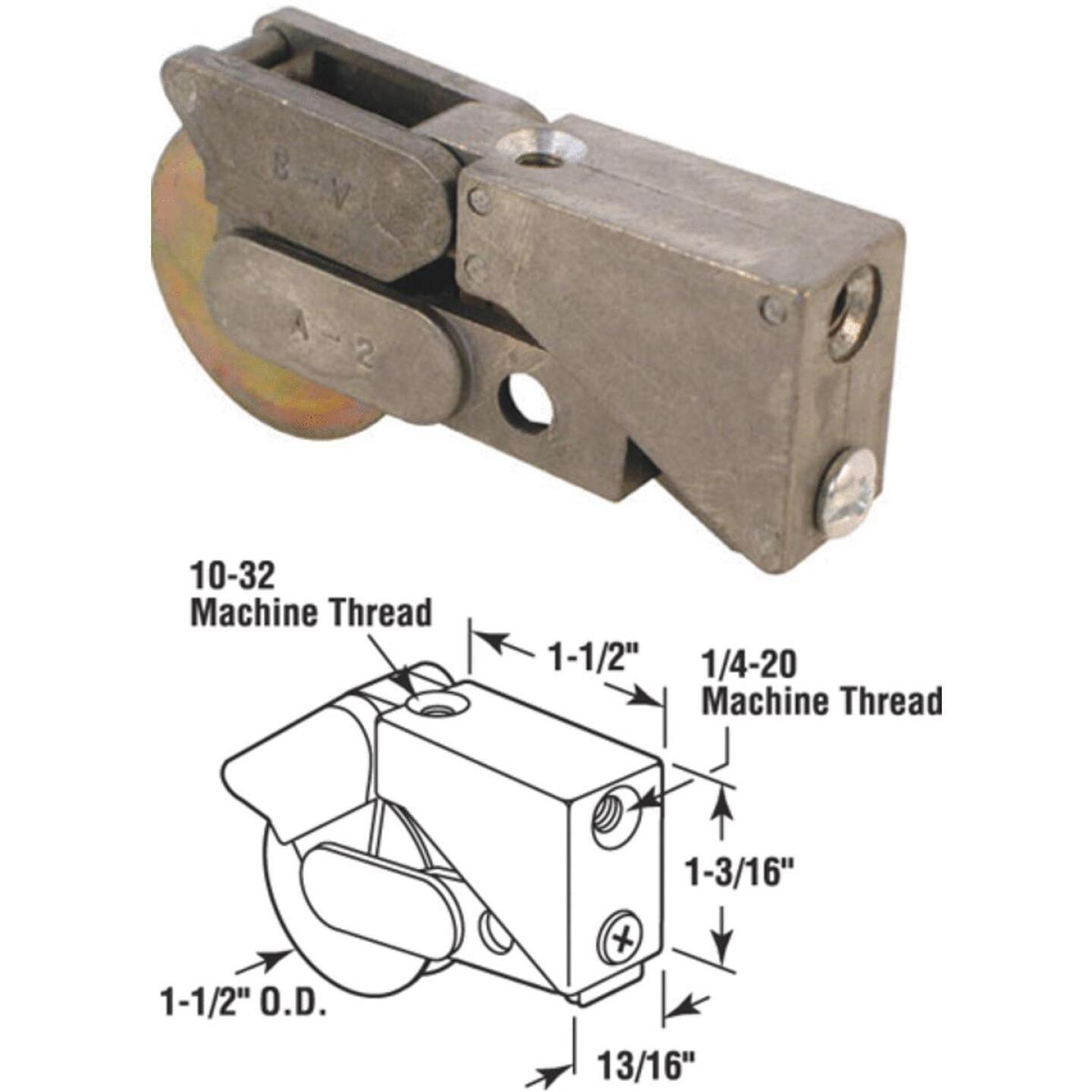 Slide-Co 1-1/2 In. Dia. x 3/4 In. W. x 1-1/2 In. L. Steel Patio Door Roller with Unique Diecast Housing Assembly Image 1