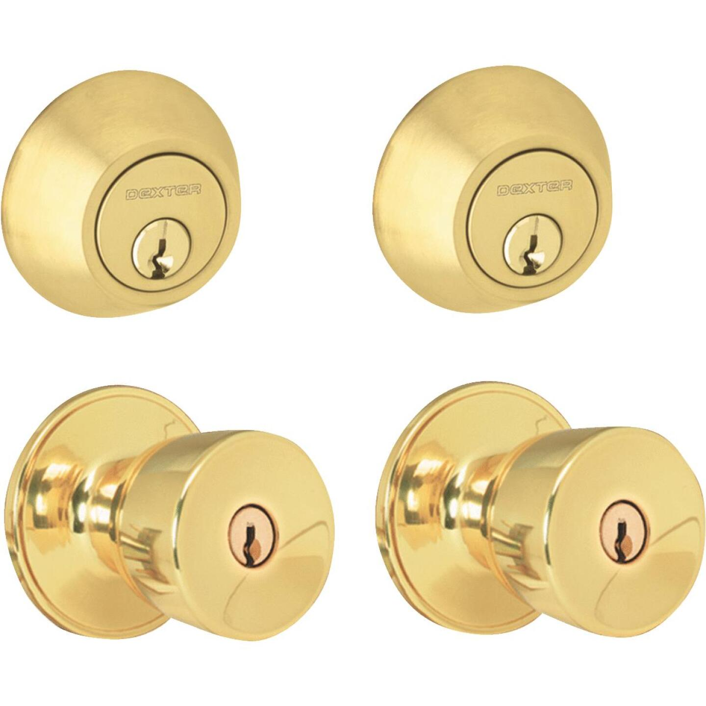 Dexter Bright Brass Deadbolt and Door Knob Combo Image 1