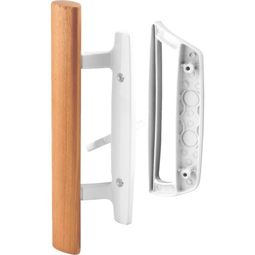 Prime-Line White Mortise Style Outside Sliding Door Handle Set