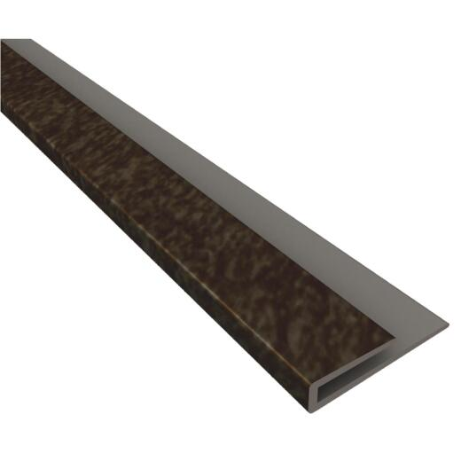 Fasade 18 In. Thermoplastic J-Edge Backsplash Trim, Smoked Pewter