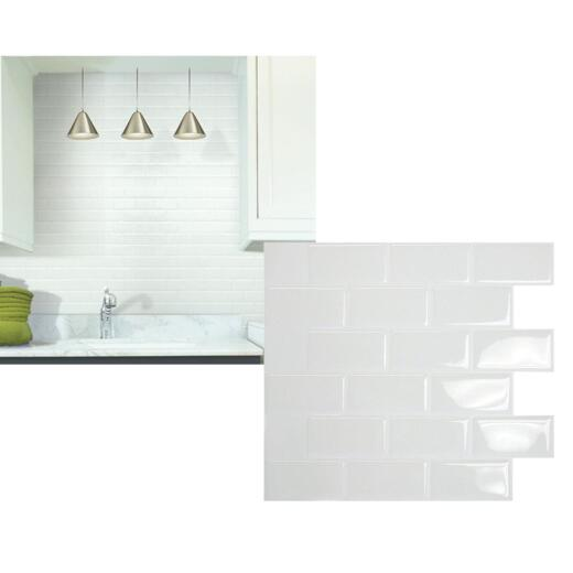 Smart Tiles 10.95 In. x 9.70 In. Glass Backsplash Peel & Stick, White Subway Tile