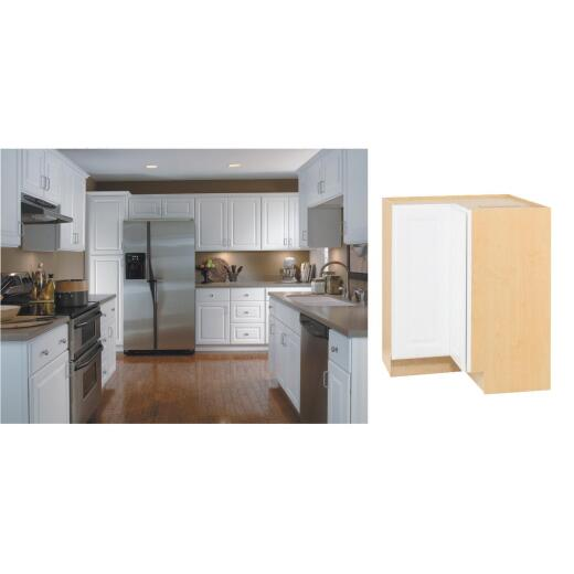 Continental Cabinets Hamilton 36 In. W x 34-1/2 In. H x 24 In. D Satin White Maple Lazy Susan Corner Base Kitchen Cabinet