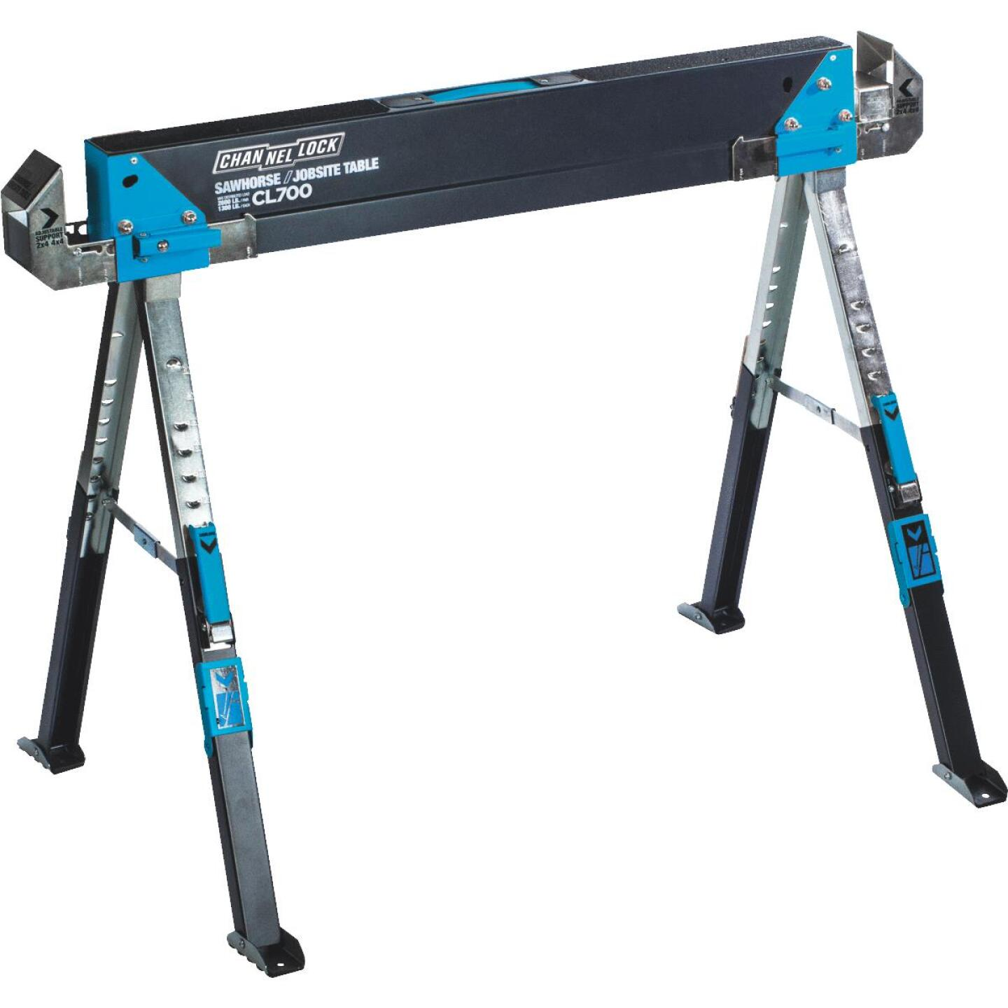 Channellock 39-1/4 to 45-3/4 In. Long Steel Adjustable Sawhorse Jobsite Table, 1300 Lb. Capacity Image 1