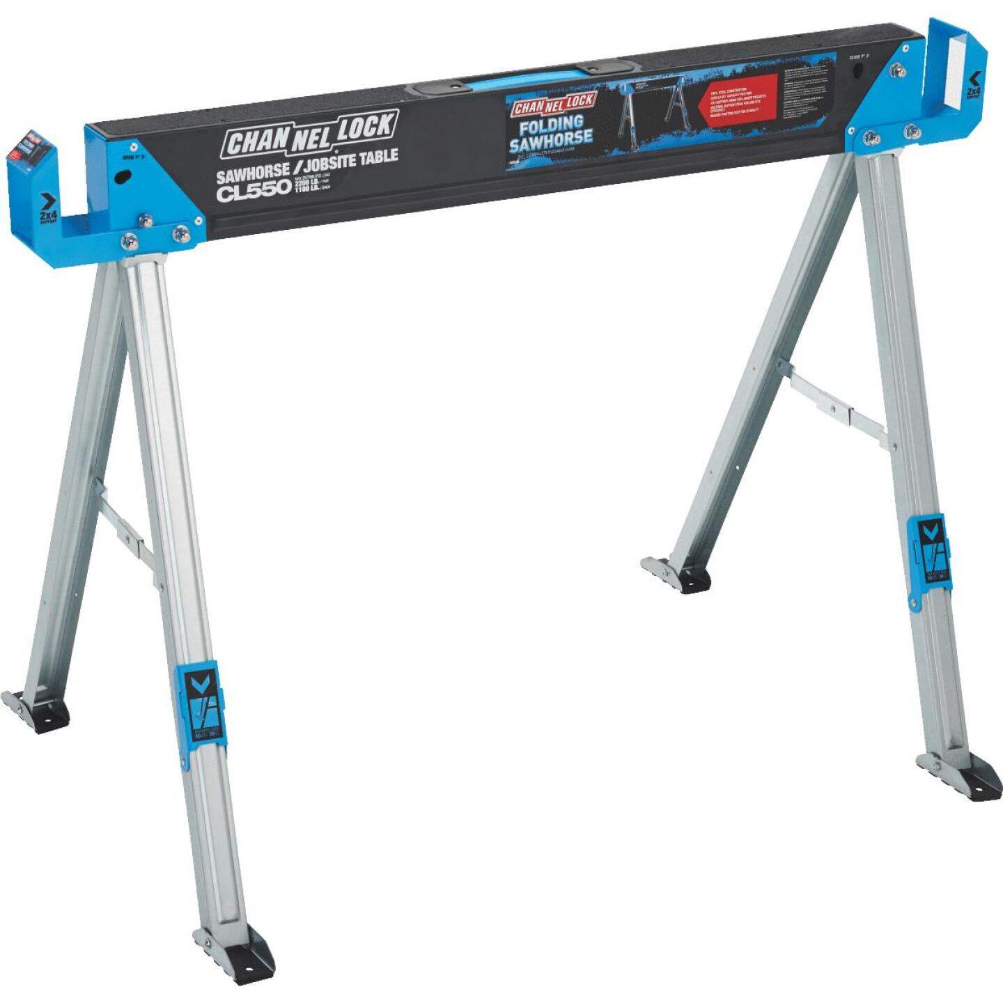 Channellock 46-1/2 In. L Steel Folding Sawhorse, 2200 Lb. Capacity Image 2