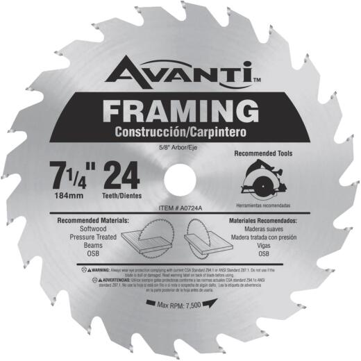 Avanti 7-1/4 In. 24-Tooth Framing Circular Saw Blade