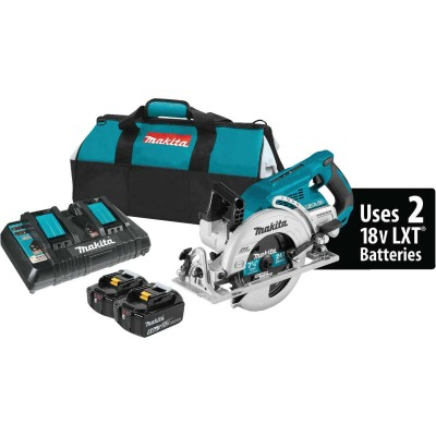 Makita 18 Volt LXT X2 Lithium-Ion Brushless 7-1/4 In. Rear Handle Cordless Circular Saw Kit