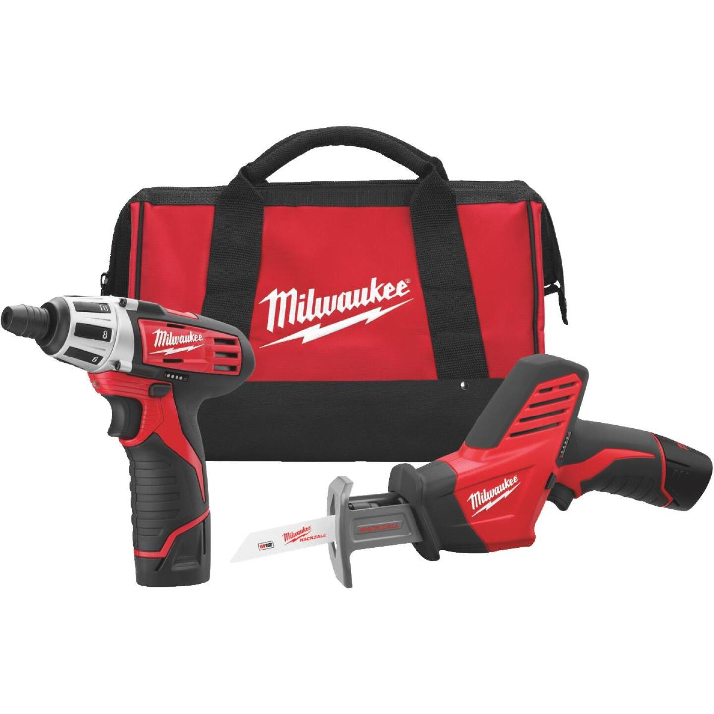 Milwaukee 2-Tool M12 12V Lithium-Ion Screwdriver & Reciprocating Saw Cordless Tool Combo Kit Image 4