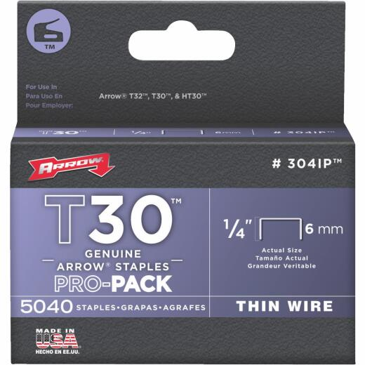 Arrow T30 Pro-Pack Thin Wire Staple, 1/4 In. (5040-Pack)