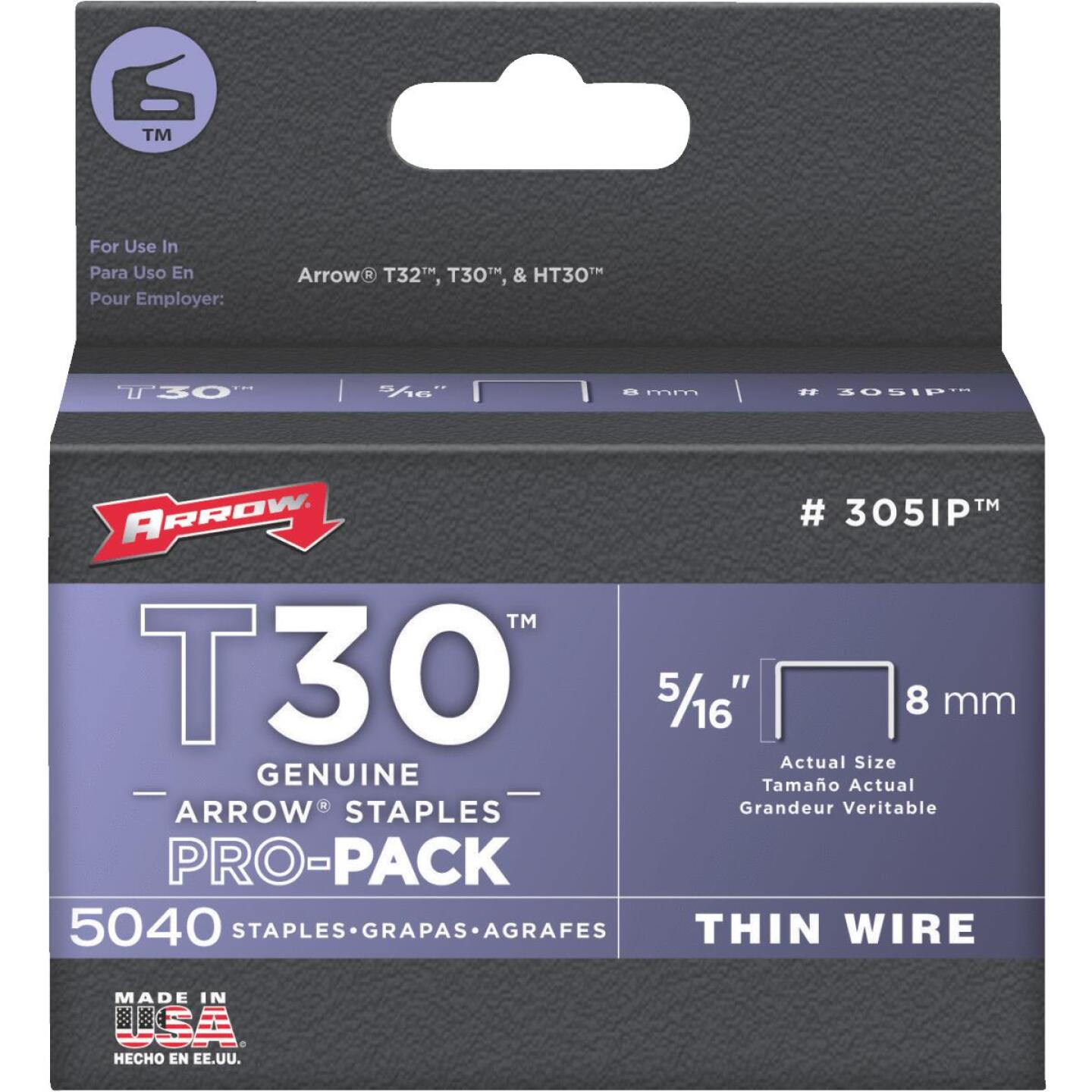 Arrow T30 Pro-Pack Thin Wire Staple, 5/16 In. (5040-Pack) Image 1