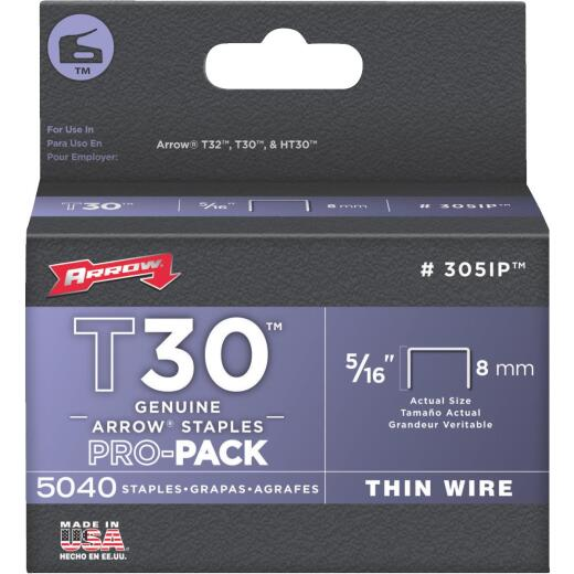 Arrow T30 Pro-Pack Thin Wire Staple, 5/16 In. (5040-Pack)