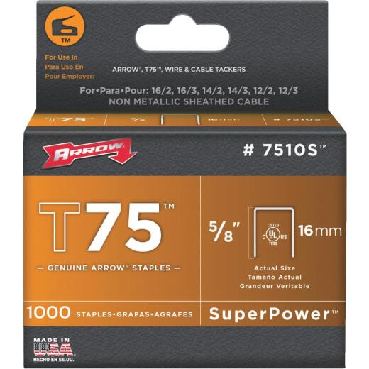 Arrow T75 SuperPower Staple, 5/8 In. (1000-Pack)