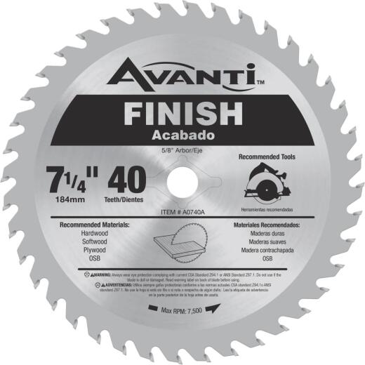 Avanti 7-1/4 In. 40-Tooth Finish Circular Saw Blade