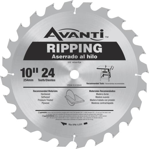 Avanti 10 In. 24-Tooth Ripping Circular Saw Blade