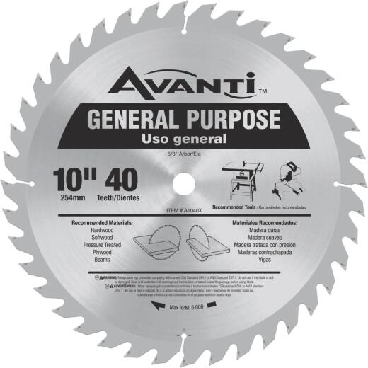 Avanti 10 In. 40-Tooth General Purpose Circular Saw Blade
