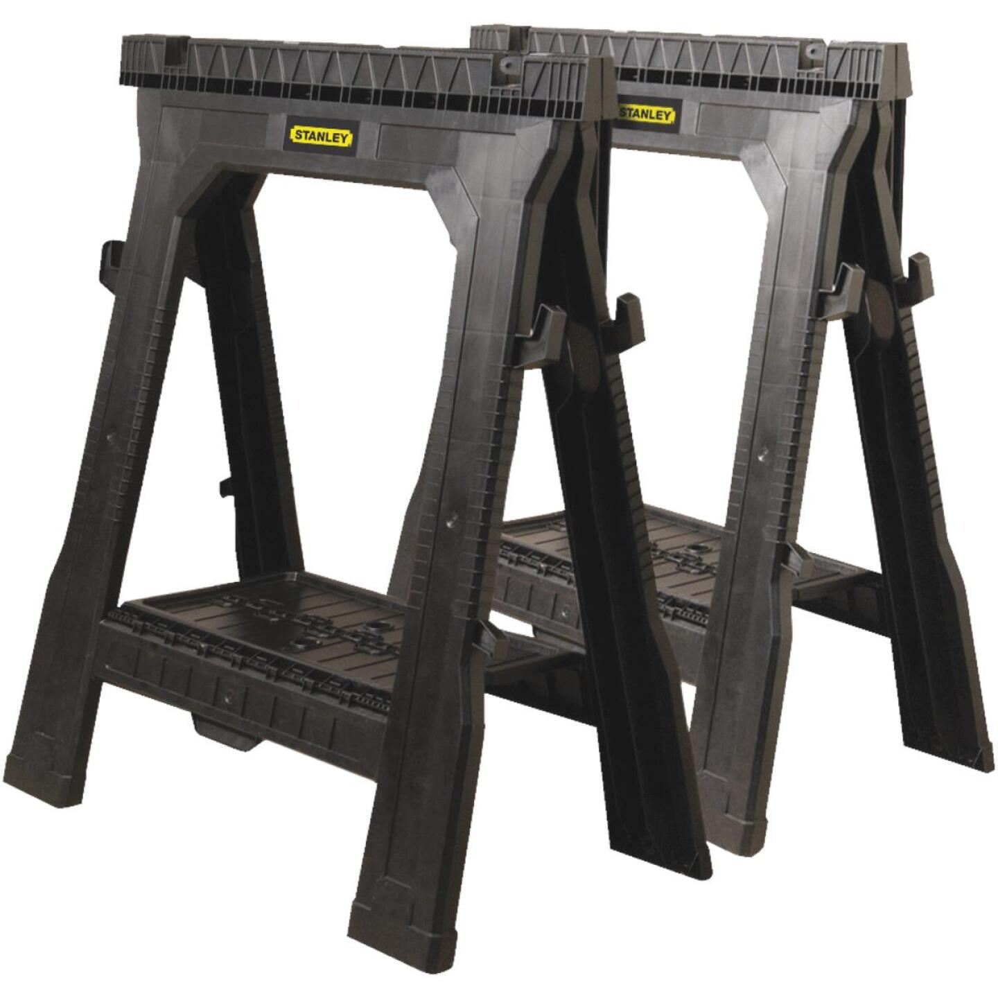 Stanley 27 In. L Plastic Portable Folding Sawhorse, 1000 Lb. Capacity (2-Set) Image 1