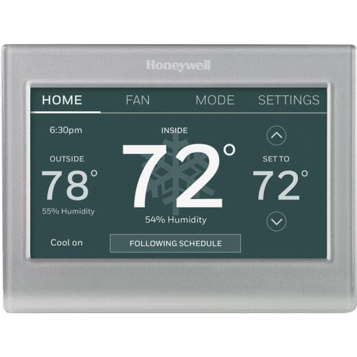 Honeywell W-Fi Smart Color 7-Day Programmable Silver Metallic Digital Thermostat