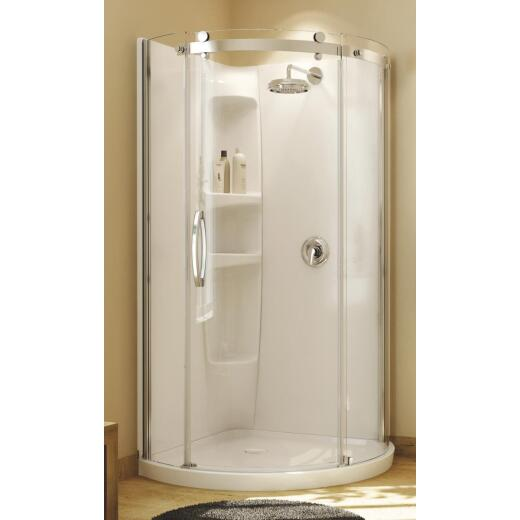 Maax Olympia 39 In. W x 71-3/4 In. H Chrome Framed Clear Glass Corner Shower Door