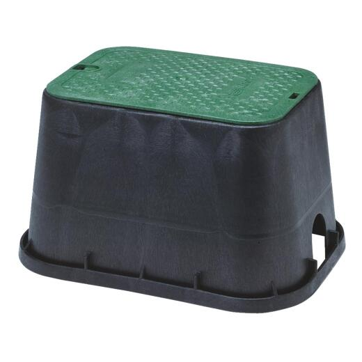 National Diversified 12 In. W. x 17 In. L. Rectangular Black & Green Valve Box with Cover