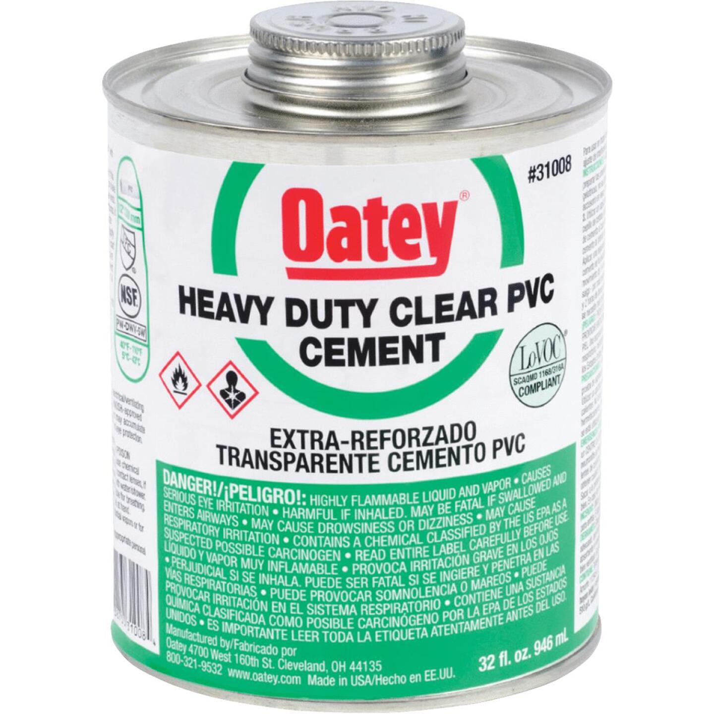 Oatey 32 Oz. Heavy Bodied Clear PVC Cement Image 1