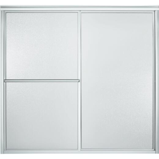 Sterling Deluxe Framed 59-3/8 In. W. X 56-1/4 In. H. Chrome Pebbled Glass Sliding Tub Door