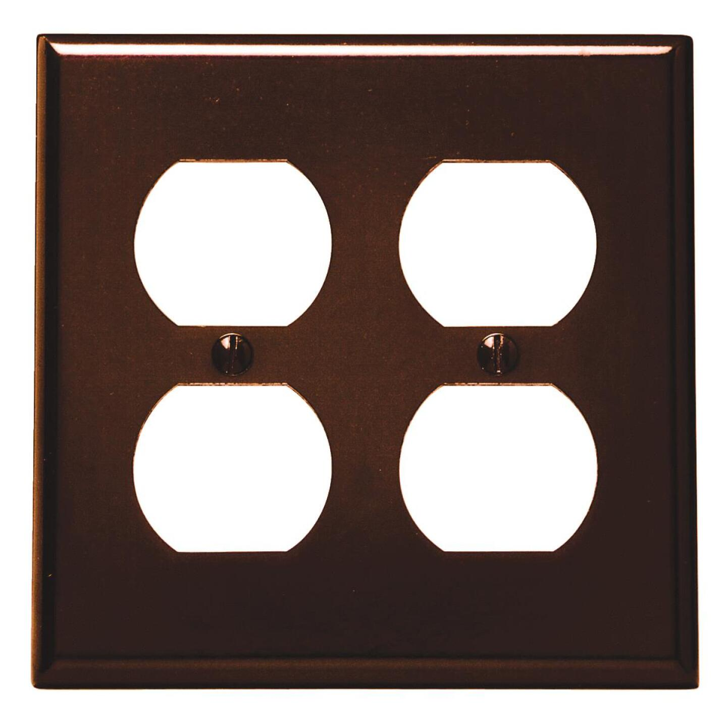 Leviton 2-Gang Smooth Plastic Outlet Wall Plate, Brown Image 1