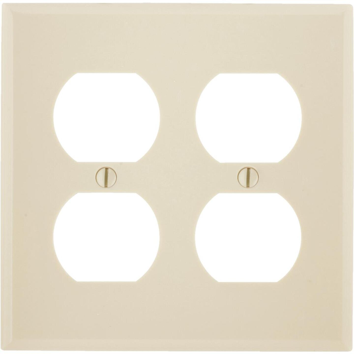 Leviton 2-Gang Smooth Plastic Outlet Wall Plate, Ivory Image 1