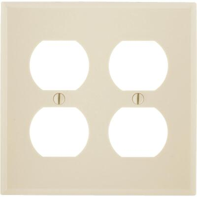 Leviton 2-Gang Smooth Plastic Outlet Wall Plate, Ivory