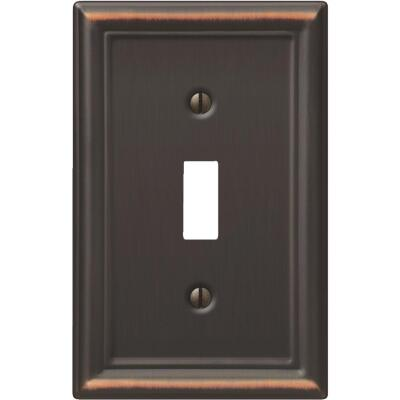 Amerelle Chelsea 1-Gang Stamped Steel Toggle Switch Wall Plate, Aged Bronze