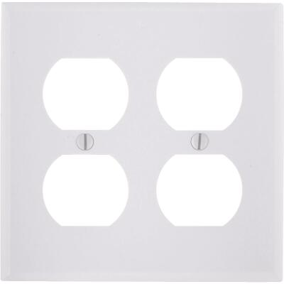 Leviton 2-Gang Smooth Plastic Outlet Wall Plate, White