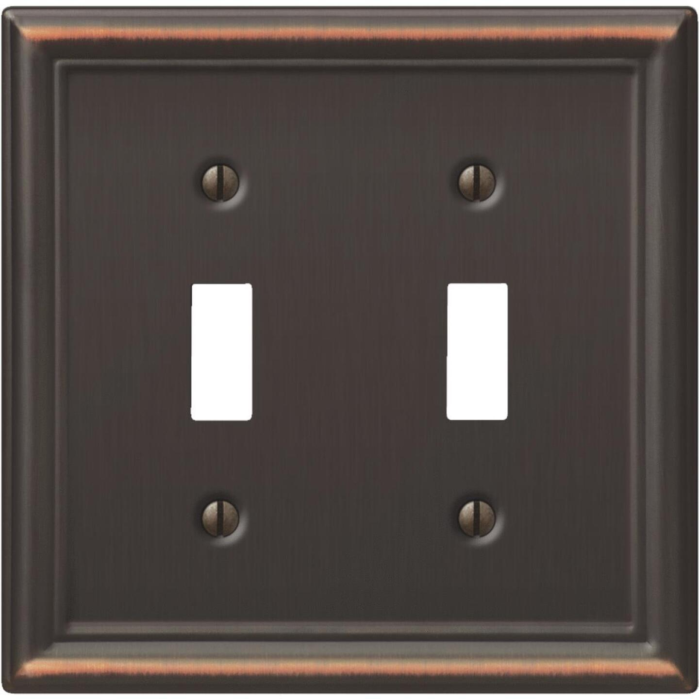 Amerelle Chelsea 2-Gang Stamped Steel Toggle Switch Wall Plate, Aged Bronze Image 1